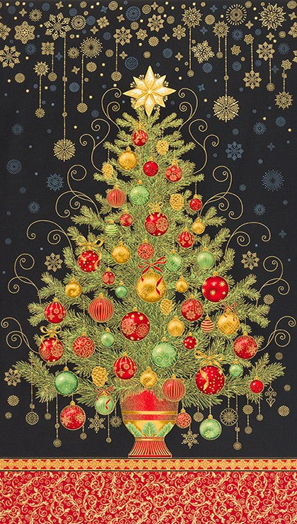 Holiday Flourish 13 - Black Christmas Tree Panel by Robert Kaufman