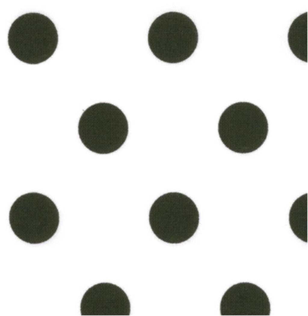 "Fat Quarter - Moda Fabrics - 45"" Dottie - Jet Black Dots on White"