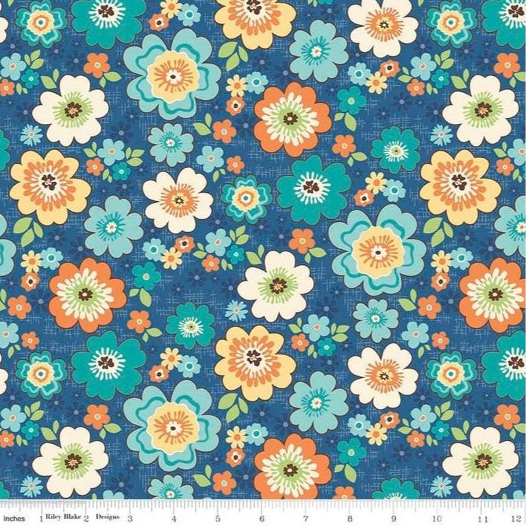 Riley Blake - Road Trip - Blossoms Blue C5621-BLUE