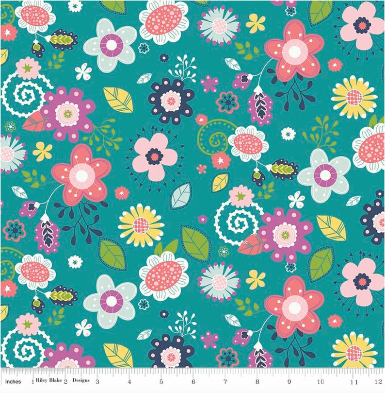 "24"" Remnant - Riley Blake - Enchanted - Main Floral Teal"