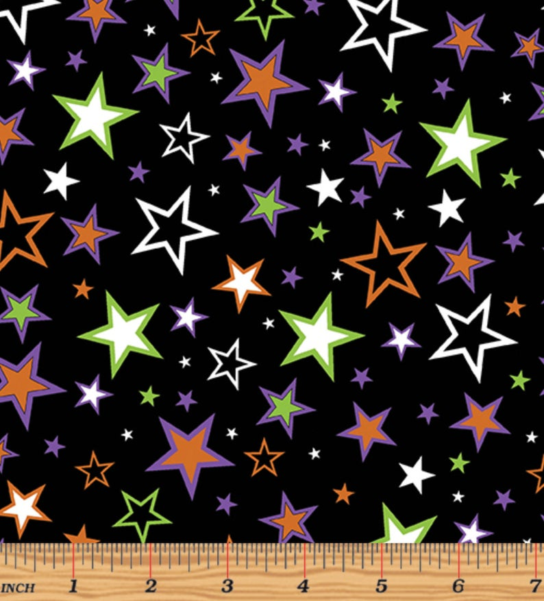 Fat Quarter - Benartex - Glow in the Dark - Faboolous Fun - Charmed Stars