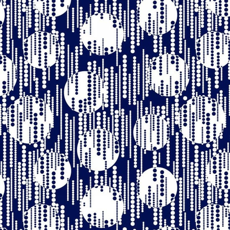 Fat Quarter - Blank Quilting - Avalon Dots with Line Dots Navy 8201-77