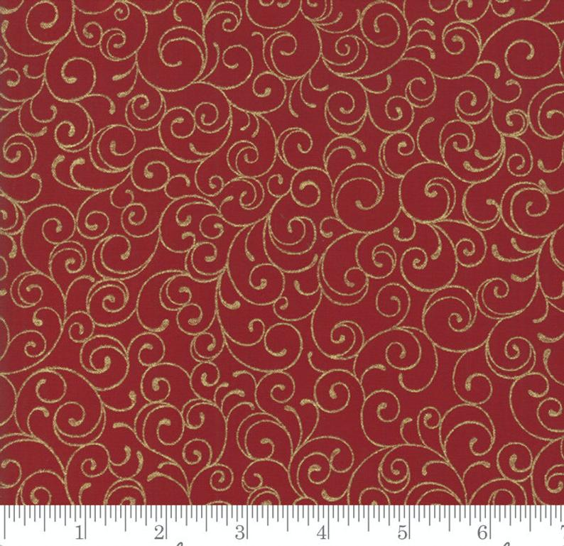 Cardinal Song Metallic Scroll Crimson Red Fabric by Moda | 33425 12M