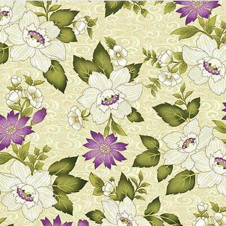 Remnants - Benartex - Ribbon Floral - Ribbon Floral Cream/Metallic Gold