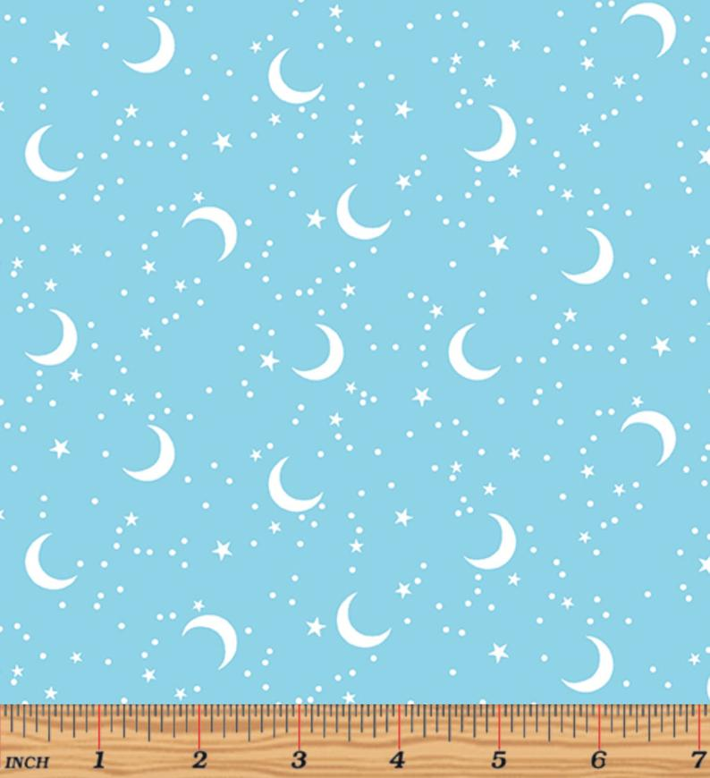 Glow For It - Moon Glow Sky Blue Glow in the Dark Fabric by Kanvas Studio for Benartex