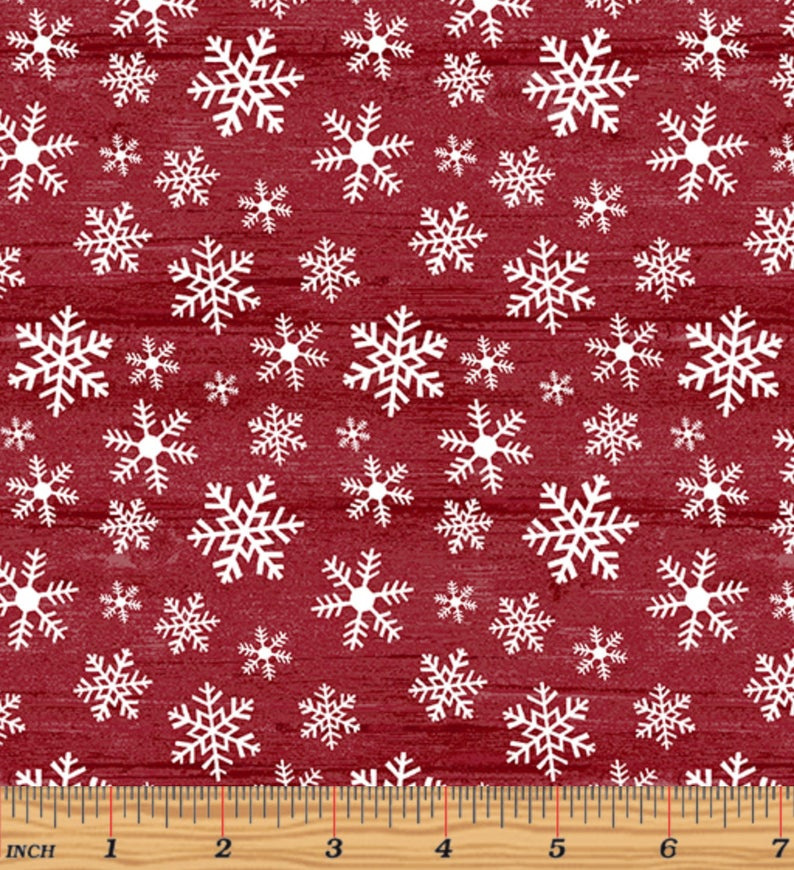 "49"" Remnant - Benartex - Rustic Village Christmas - Wood Flake Grenadine"