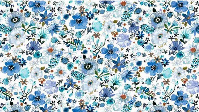 "14"" Remnant - Dear Stella - Cool Garden on White - Digital Print"