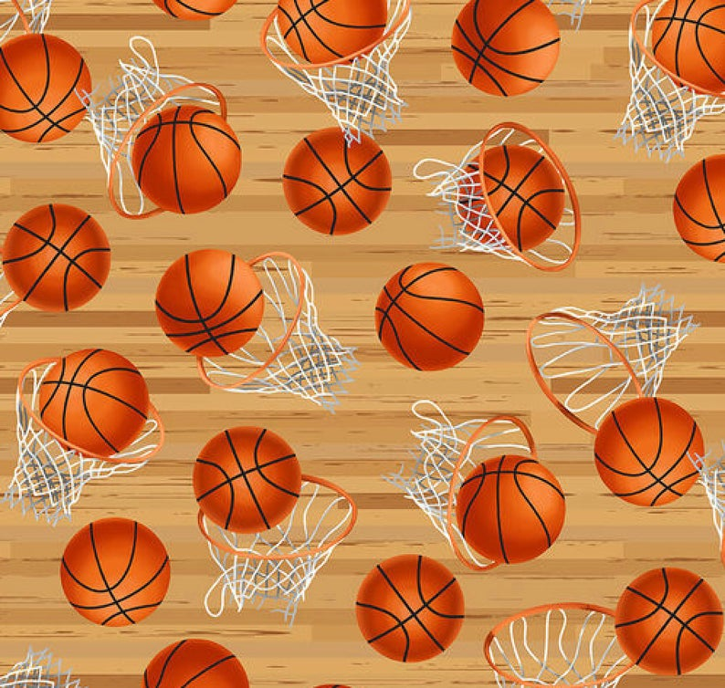 "26"" Remnant - Blank Quilting - Love of Game - Hoops with Basketballs"