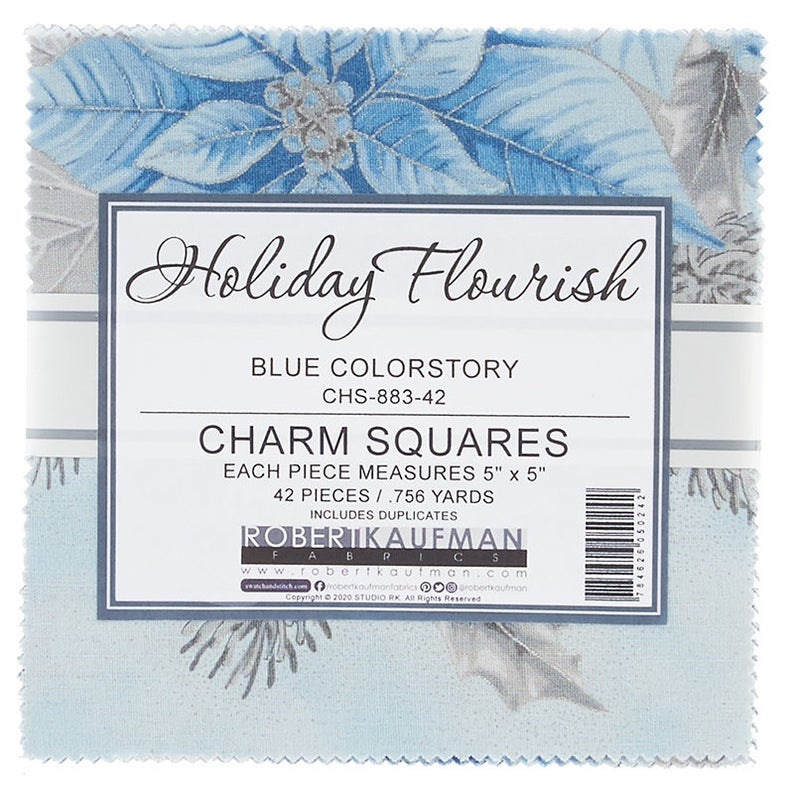 Robert Kaufman - Holiday Flourish 13 Blue Colorstory Charm Squares CHS-883-42