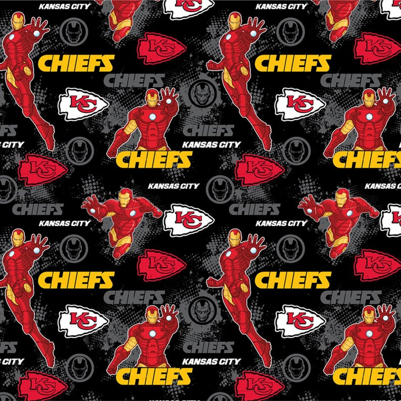 Fabric Traditions - Licensed Cotton NFL/Marvel Iron Man (National Football League) - Kansas City Chiefs