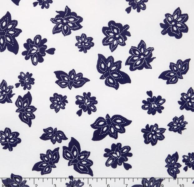 Windham Fabrics - Low Country Indigo - Tossed Flowers by Nancy Gere