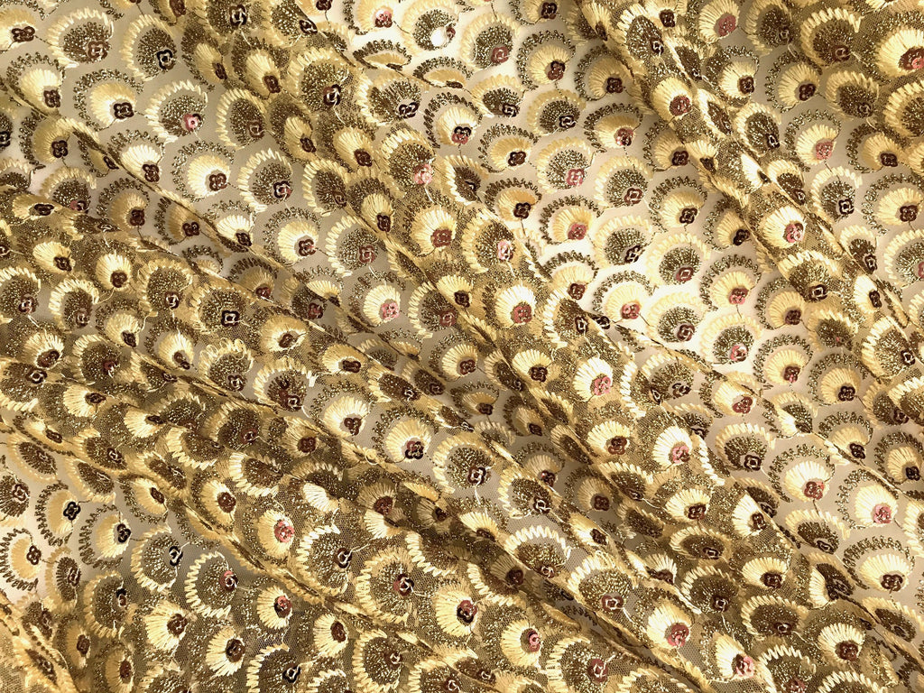 Gold Embroidered Net Fabric Embellished with Sequins