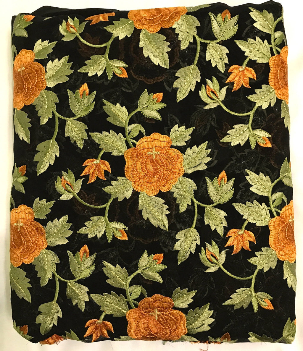 Embroidered Black Georgette Fabric
