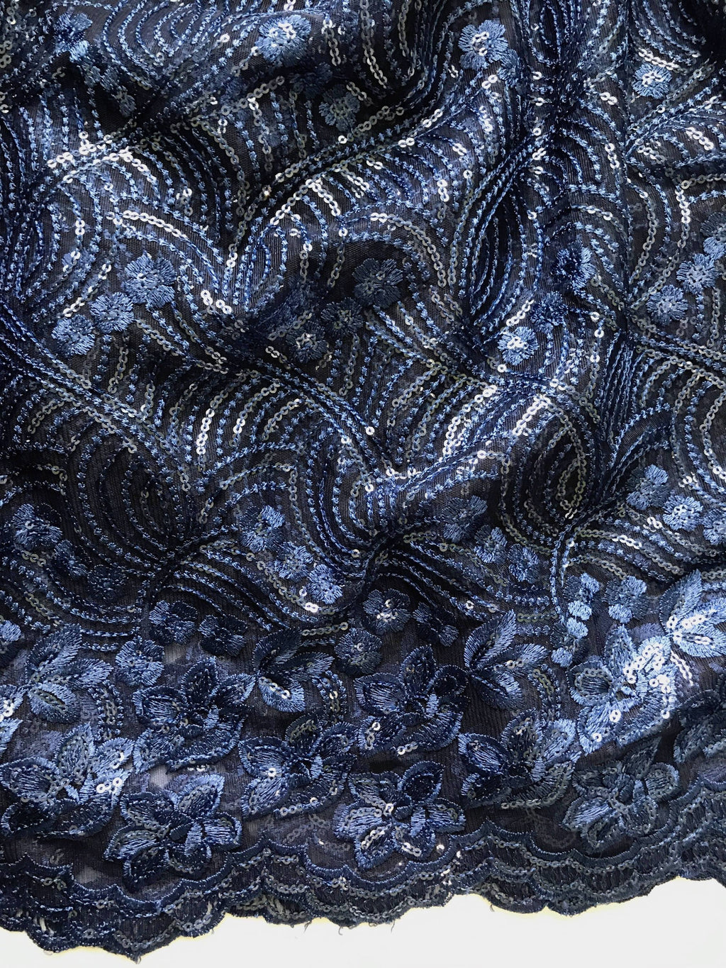 Dark Blue Embroidered Net Fabric Embellished with Sequins