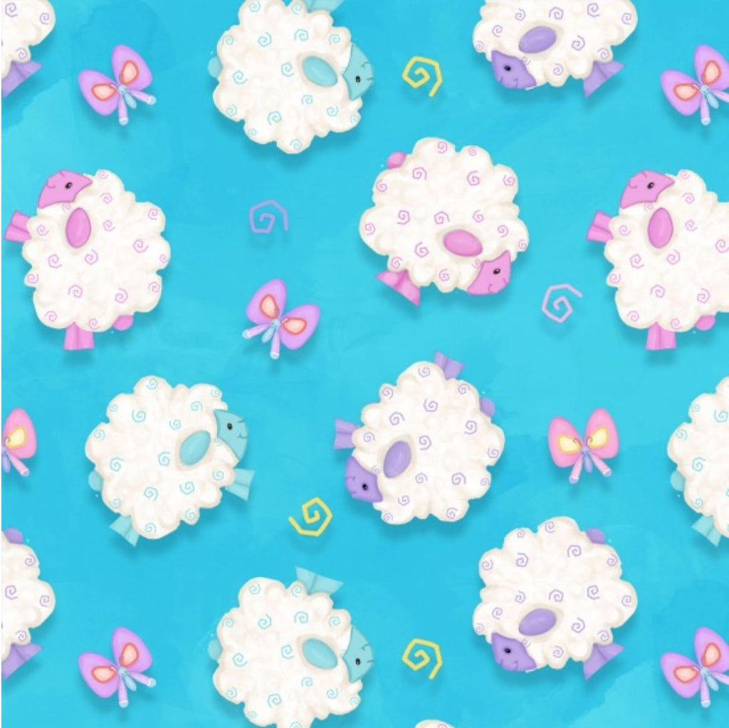 Henry Glass Fabrics - Hop to it! - Lambs on Blue 6859-11