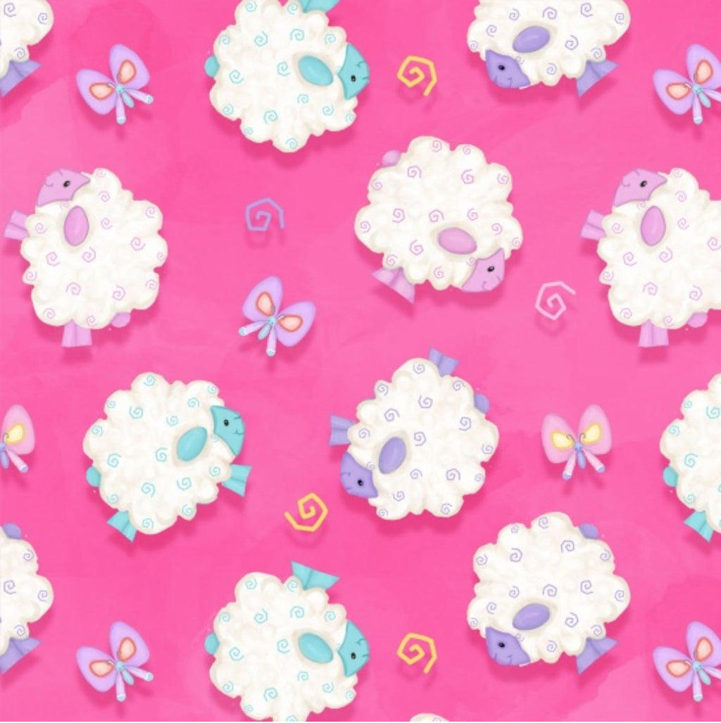 Henry Glass Fabrics - Hop to it! - Lambs on Pink 6859-22