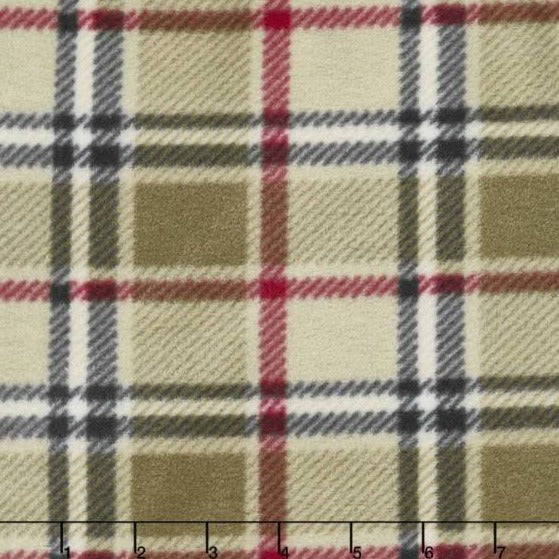 "106"" Remnant - Fleece - Winterfleece Prints - Plaids and Checks - London Plaid Camel Fleece"