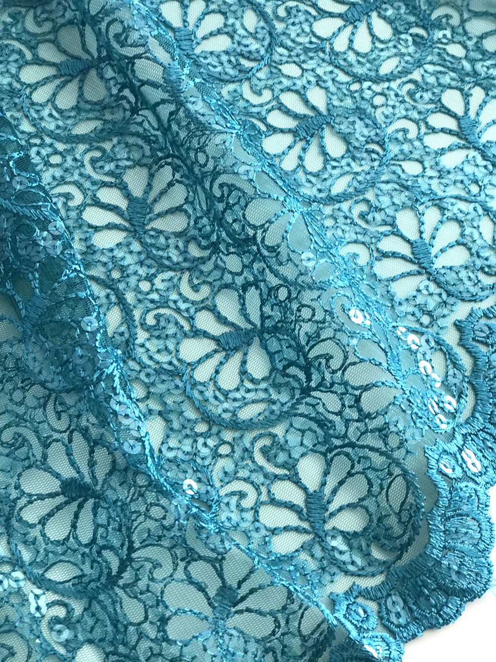 Teal Embroidered Net Fabric Embellished with Sequins