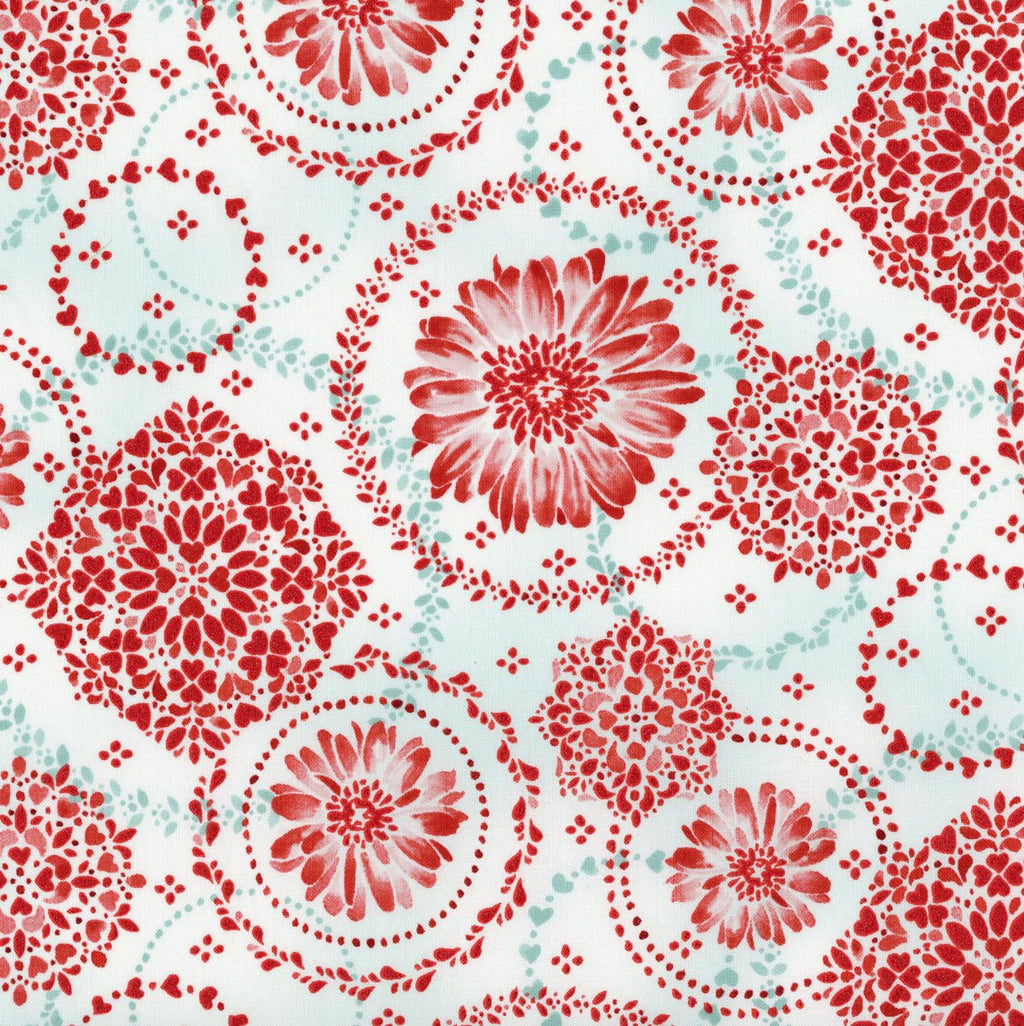 "10"" Remnant - RJR Fabrics - Sugar Berry - Daisy Delight - Radiant Crystal with Red Glitter"