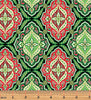 Benartex - Merry & Bright - Holiday Medallion Green/Red/Gold Metallic