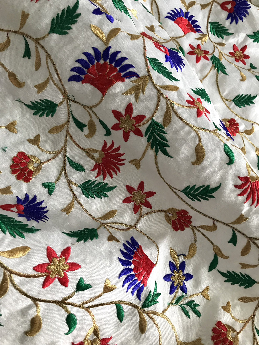 "32"" Remnant - Raw Silk Embroidered Fabric/Lustrous & Sheer Fabric"
