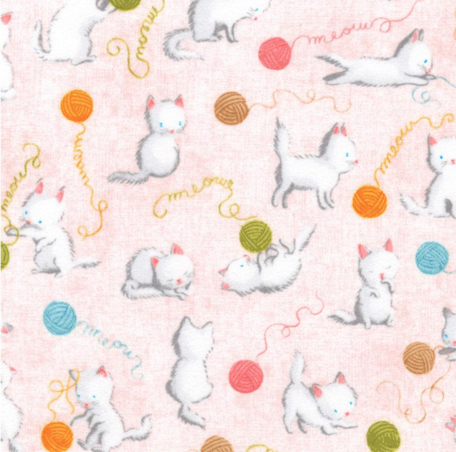 Flannel - Robert Kaufman - Cuddly Kittens Pink on Flannel