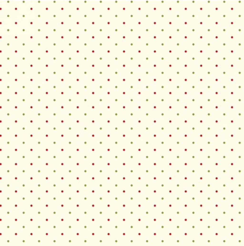 Henry Glass Fabrics - Ring in the Holly Days - Pin Dots in Red, Green on Cream