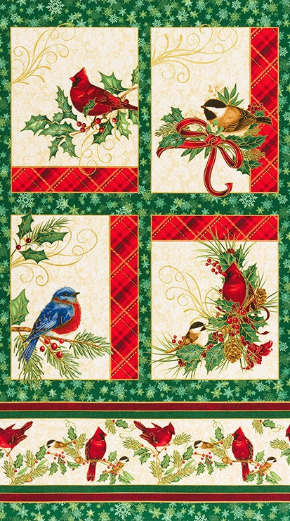 Winter's Grandeur 8 - Holiday Bird Gold Metallic Panel by Robert Kaufman