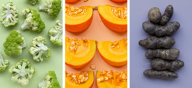 Three images in one frame showcasing melons, broccoli, and purple potatoes