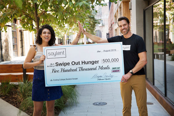Soylent CEO, Bryan Crowley with Swipe Out Hunger CEO, Rachel Sumekh
