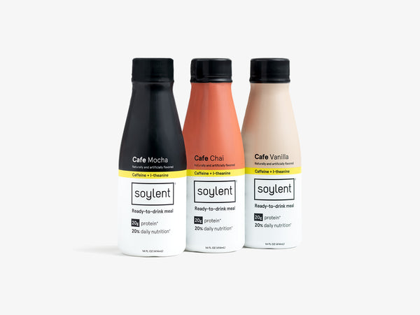 All three Ready-to-Drink Soylent Cafe flavors in one convenient kit