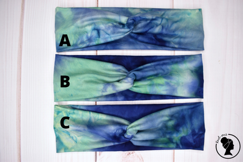 "Laguna Blue and Green Tie Dye Large 3"" RTS"