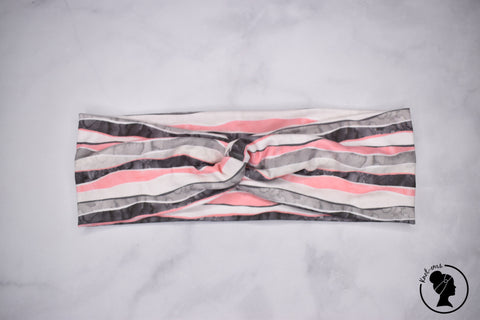 "Brushed Gray Pink Abstract Stripes Large 3"" RTS"
