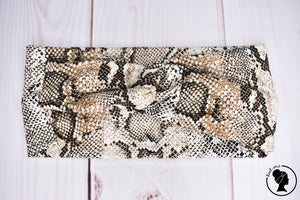 "Brushed Beige Snakeskin Large 4"" RTS"