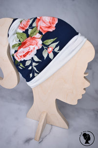 Brushed Navy Floral Stripes Large Twistem