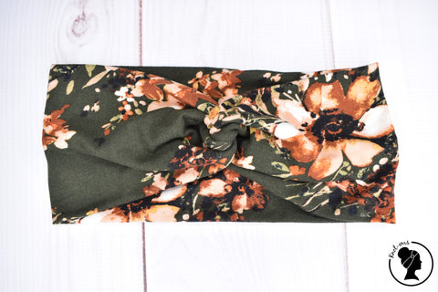 "Brushed Taupe Olive Floral Large 4"" RTS"