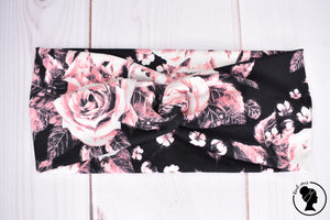 "Brushed Pink Floral on Black Large 4"" RTS"