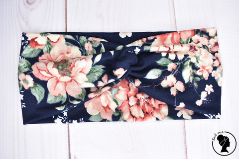 "Brushed Blush Floral on Navy Large 4"" RTS"