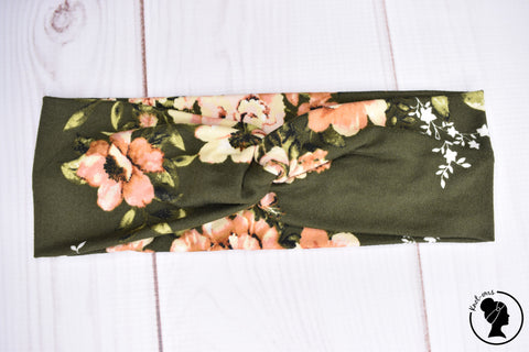 "Brushed Blush Floral on Olive Large 3"" RTS"