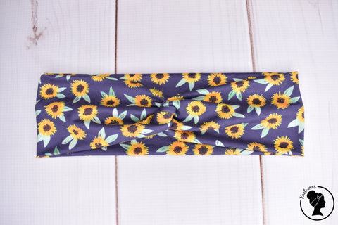 "Brushed Navy Sunflowers Large 3"" RTS"