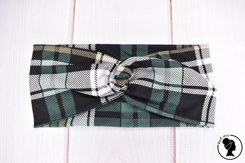 "Brushed Green and Black Plaid Large 4"" RTS"