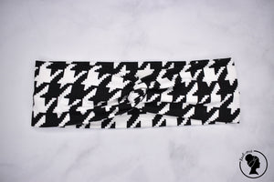 "Brushed Black and White Houndstooth Large 3"" RTS"