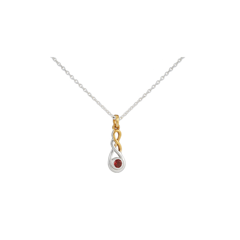 Amore Endless Infinity Sterling Silver Pendant Chain With Garnet