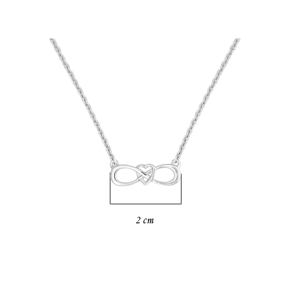 Hep Audrey Amore Endless Love Heart In Infinity Sterling Silver Pendant Chain UK