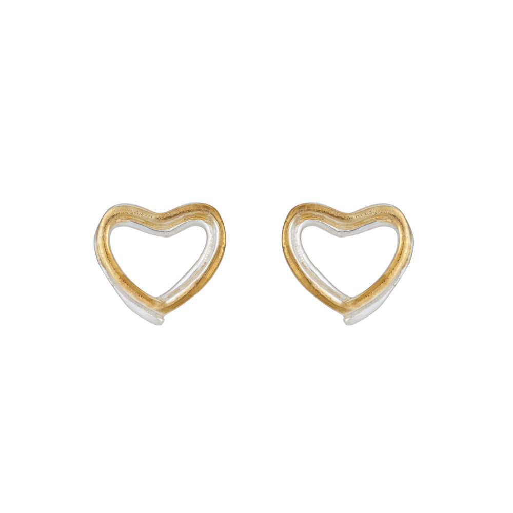 Amore Forever Love Twin Hearts Sterling Silver Stud Earrings