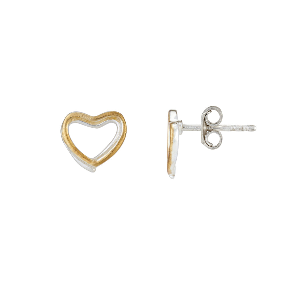 Hep Audrey Amore Forever Love Twin Hearts Sterling Silver Stud Earrings 2