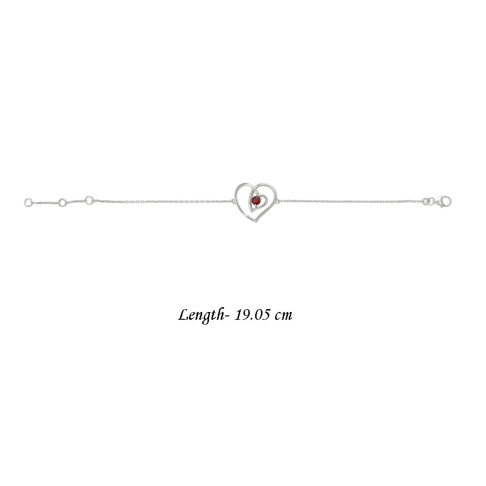 Buy - Hep Audrey Amore Interlocked Hearts Sterling Silver Bracelet With Garnet 2