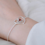 Hep Audrey Amore Interlocked Hearts Sterling Silver Bracelet With Garnet 4
