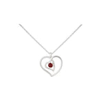 Amore Interlocked Hearts Sterling Silver Pendant Chain with Garnet
