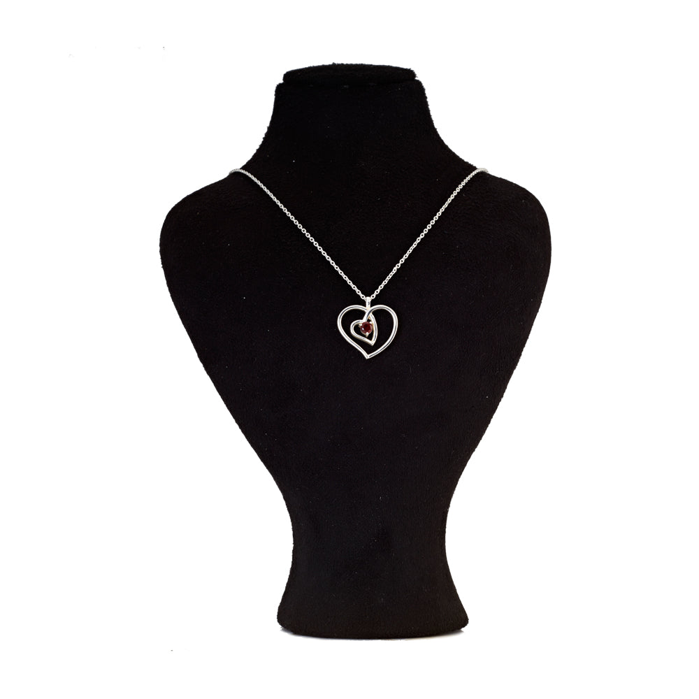 Hep Audrey Amore Interlocked Hearts Sterling Silver Pendant Chain with Garnet 2